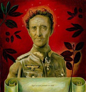 """Tommaso Pincio """"Ritratto di Roberto Bolaño con stelle distanti"""" 2012, tecnica mista su tavola, cm. 65 x 50"""