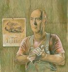 """Tommaso Pincio """"Ritratto di James G. Ballard"""", 2012, tecnica mista su tavola cm.65 x 60"""