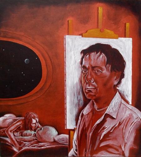 """Tommaso Pincio """"Autoritratto con le spalle rivolte all'arte e alla fantascienza (incompiuto)"""" 2012, olio, matita e carboncino su tavola cm. 65 x 60"""