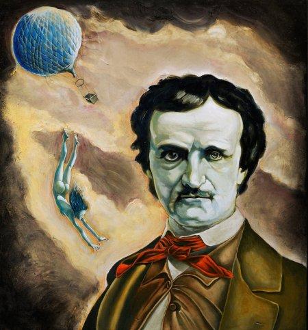"""Tommaso Pincio """"Ritratto di Edgar Allan Poe con le spalle rivolte al sublime"""", 2011, olio su tavola, cm. 65 x 60"""