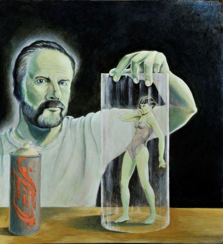 """Tommaso Pincio """"Ritatto di Philip K. Dick con ragazza dai capelli neri in campana di vetro"""", 2009, olio su tavola, cm. 65 x 60"""