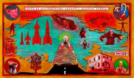 """Tommaso Pincio """"Nova et accuratissima Gravity's Rainbow tabula"""" (2013) olio e matita su carta cm. 47 x 80"""