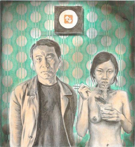 Tommaso Pincio, studio per un ritratto di Murakami Haruki, 2011, matita e pastelli su carta
